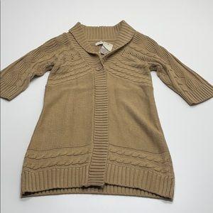 SONOMA Womens Large Long Tan Knit Sweater